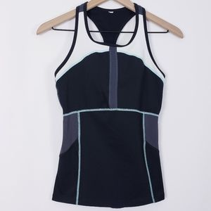 Lucy Activewear Black/Teal/White Running Tank Top